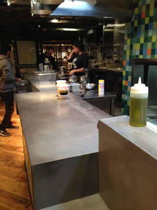Here is a view of the kitchen where the chef's cooked during the competition.